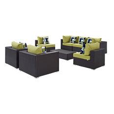 Modern Contemporary Outdoor Patio 8-Piece Sectional Sofa Set, Brown, Rattan