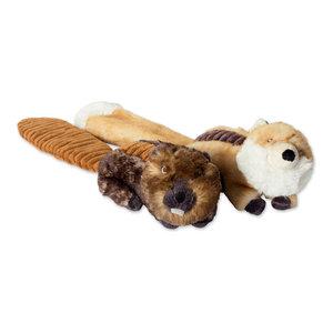DII Beaver/Fox Plush Squeaker Pet Toy, Set of 2