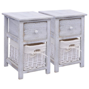 VidaXL Shabby Chic Bedside Cabinets, White, Set of 2
