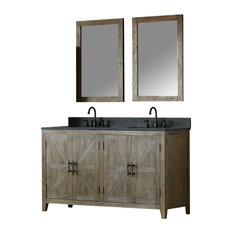 Abigail Elm Vanity With Faucet and Mirror, 60""