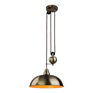 Century Rise and Fall Classic Pendant, Antique Brass