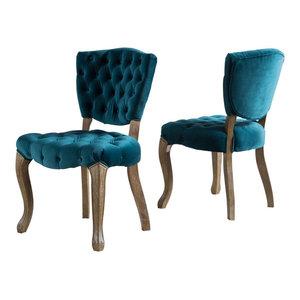 GDF Studio Elizabeth Tufted New Velvet Fabric Dining Chairs, Dark Teal, Set of 2