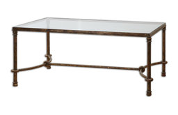 Warring Rustic Bronze Forged Iron Rectangular Coffee Table