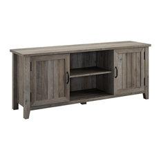 58-inch Modern Farmhouse TV Stand With Beadboard Doors - Grey Wash