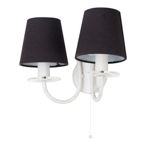 Pavlo 2 Light Vintage Wall Light, Black and White