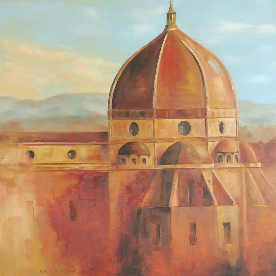 SOLD  Un Luogo di Culti, 30x30, framed