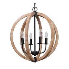 Farmhouse 4-Light Distressed Wood Orb Chandelier