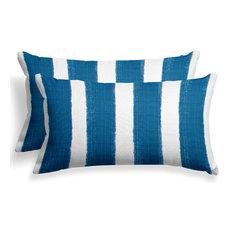 """Indoor/Outdoor Reversible Lumbar Pillow 24""""x16"""", Set of 2, Cabana Navy"""