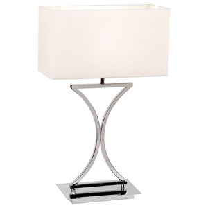 Epalle Modern Chrome Table Lamp With White Fabric Shade