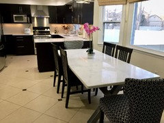 Quartz top dining table in kitchen love our white marble patternquartz im all for maintenance free we had the kitchen table custom made watchthetrailerfo
