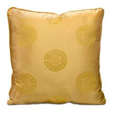 Silk Pillow, Longevity Symbol, Gold, Gold