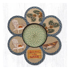 """Earth Rugs TNB-378 Welcome To The Lake Trivets in a Basket 10"""" x 10"""""""