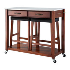 Crosley Stainless Steel Top Kitchen Cart With Saddle Stools In Cherry