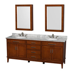 "Hatton Double Vanity, Light Chestnut, 80"", Round, White Carrera Marble"