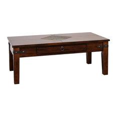 1st Avenue   Prescott 1 Drawer Slate Top Coffee Table, Dark Chocolate