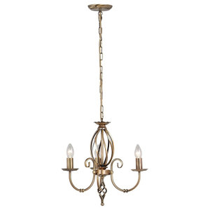 Traditional Aged Brass 3-Arm Chandelier With Knot Detail