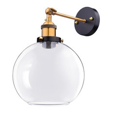 """Vintage-Style 7.9"""" Bell-Shape Glass Light Wall Sconce, Amber, Clear"""