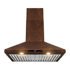 "AKDY 30"" Wall Mount Range Hood Embossed Copper Touch Control Fan for Kitchen"