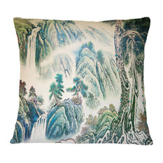 "Blue Chinese Landscape Painting Floral Throw Pillow, 16""x16"""