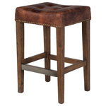 Austin Furniture - Ash Counter Stool, Vintage Brown Leather - Each piece is hand-crafted and finished with soft curves and detailed embellishments. The Design Tree Home Ash Counter Stool in a vintage brown leather is designed for comfort, balancing clean lines with efficient design. Crisp, casual seating is essential, whatever task you face. Antiqued brass nail heads and tufted details add traditional detail, while the soft upholstery gives this Bar Stool a contemporary presence.