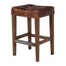 Design Tree Home - Ash Counter Stool, Vintage Brown Leather - Bar Stools and Counter Stools