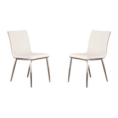 Cafe Brushed Stainless Steel Dining Chair, Set Of 2