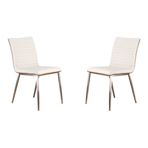 Cafe Brushed Stainless Steel Dining Chairs With Walnut Back, Set of 2, White