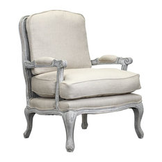 Boraam Industries, Inc. - Hasting Armchair, Whitewash and Beige - Armchairs and Accent Chairs