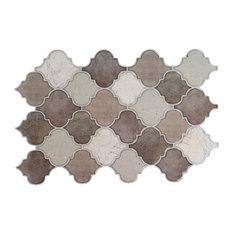 "Scallops Peel & Stick Wall Tiles, 12""x8"", Gray/Black, 6 Pieces"