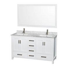 1st Avenue   Hawkesbury Double Bathroom Vanity With Mirror, Carrara Marble  Top, White,