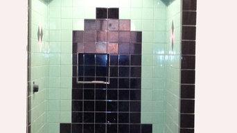 Art Deco Shower using vintage tiles