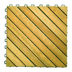12-Diagonal Slat Acacia Interlocking Deck Tiles, Teak Finish, Set of 10