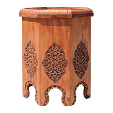 Asian Octagon Floral Relief Carving Side Table Stand