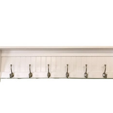 "Hanging Wall Wooden Coat Rack 48"" With English Satin Chrome Hooks"