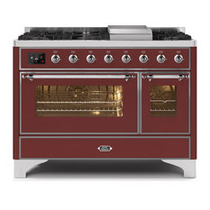 48 Majestic II Range With Glass Door, Griddle in Burgundy with Chrome (NG)