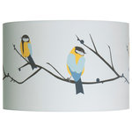 Lorna Syson - Juneberry and Bird Lampshade, Small - The small Juneberry and Bird Lampshade is a lovely gift for any bird lover in your life. This is the most popular of Lorna Syson's prints, and served as the inspiration for the entire Songbird collection. The lampshade adds refreshing splashes of blue and yellow to brighten up your space and looks fantastic in the living room, lounge or bedroom. The design has been digitally printed on organic cotton, and handmade into a lampshade in Bolton. Lorna Syson founded her studio in 2009, specialising in home decor that draws its inspiration from the stunning English countryside.