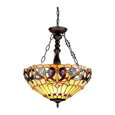 Stained glass pendant lighting houzz chloe lighting inc chloe lighting serenity stained glass 3 light victorian inverted mozeypictures Gallery