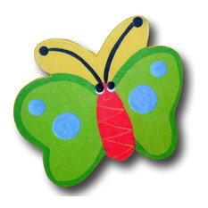 Butterfly Back Wooden Drawer Pull, Green/Yellow