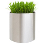 NMN Designs - Knox Brushed Stainless Steel Planter, Large - Brushed stainless steel, extra-heavy duty planter, well suited for interior design as well as garden decor. Sharp, modern design with an easy-to-clean exterior and a waterproof lined interior.