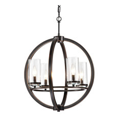 4-Light Oil Rubbed Bronze Globe Chandelier With Clear Glass Sconces