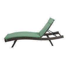 GDF Studio Lakeport Outdoor Chaise Lounge Chair  With Cushion, Jungle Green