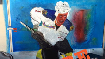 Hockey Wall Mural-Blue Line Restaurant, Kansas City Missouri