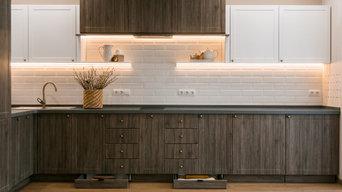 Реализация кухонной зоны из проекта ЖК Ньютон