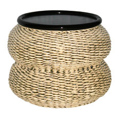 Cotes D'Azur Woven Banana Leaf and Mahogany Side Table