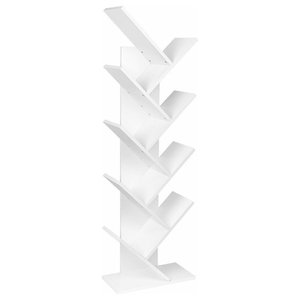 Floorstanding Bookcase Organizer, White Painted MDF, Simple Tree Design