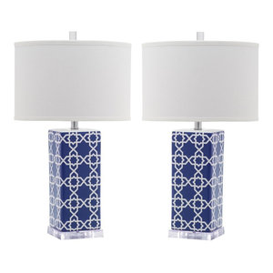 Safavieh Leo Table Lamps, Set of 2, Navy