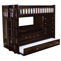 Twin Loft Bed with Storage, Desk, Dresser, Trundle in 1, Dark Espresso
