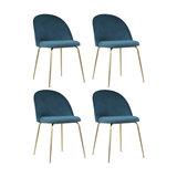 Millennial Brass Velvet Upholstered Dining Chair, Ocean Teal, Set of 4