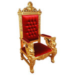 EuroLux Home - Throne Chair Sphinx Gold Red Velvet Mahogany - Product Details