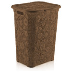 """Superio Brand - Brand Lace Laundry Hamper Color, Brown - 560-561 Color: Brown Features: -Brand collection. -1.42 Bushel. -Decorative lace design. -High caliber plastic laundry hampe. -Holds plenty of laundry. -Includes laundry hamper with lid. Number of Items Included: -2. Primary Material: -Plastic. Dimensions: Overall Height - Top to Bottom: -20.5"""". Overall Width - Side to Side: -17.5"""". Overall Depth - Front to Back: -16.5"""". Overall Product Weight: -6.2 lbs."""